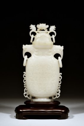 Hetian Jade Carved 'dragon & Phoenix' Bottle Vase