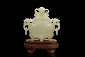 Hetian Jade Carved Censer With Lid And Stand