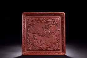 Cinnabar Lacquer Carved Square Tray