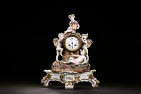 Antique German Meissen Porcelain Clock With Stand