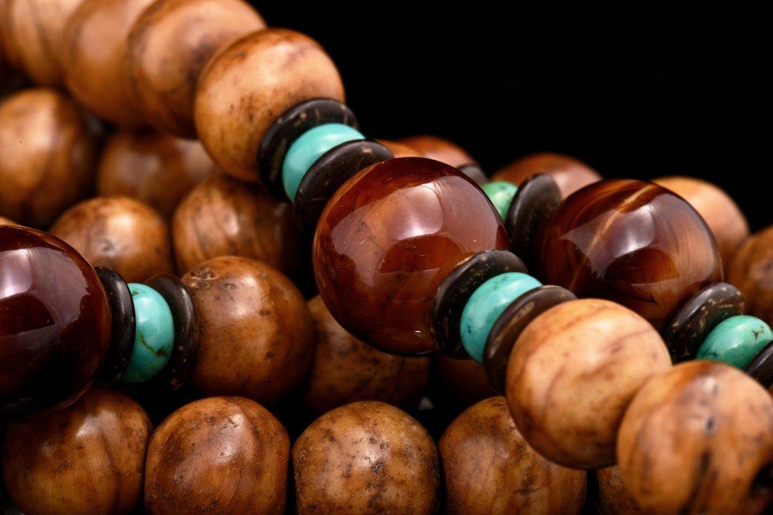 OLD TIBETAN PRAYER BEADS MADE OF BONE - 4