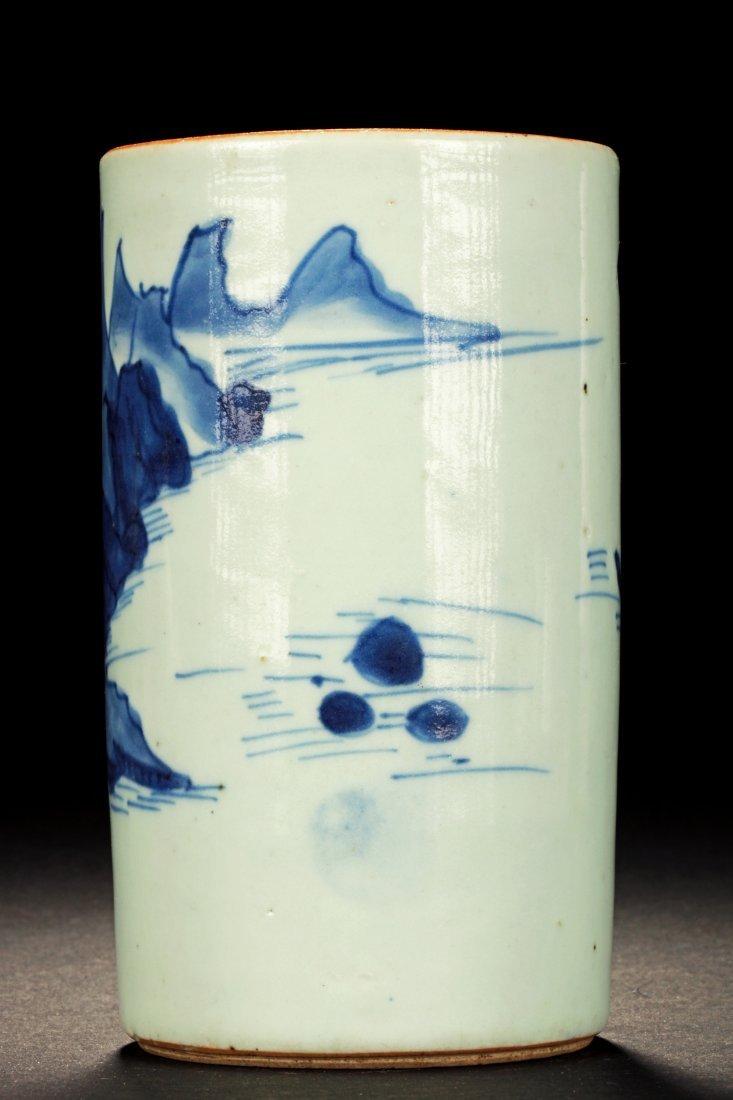 BLUE AND WHITE 'LANDSCAPE' BRUSH POT - 3