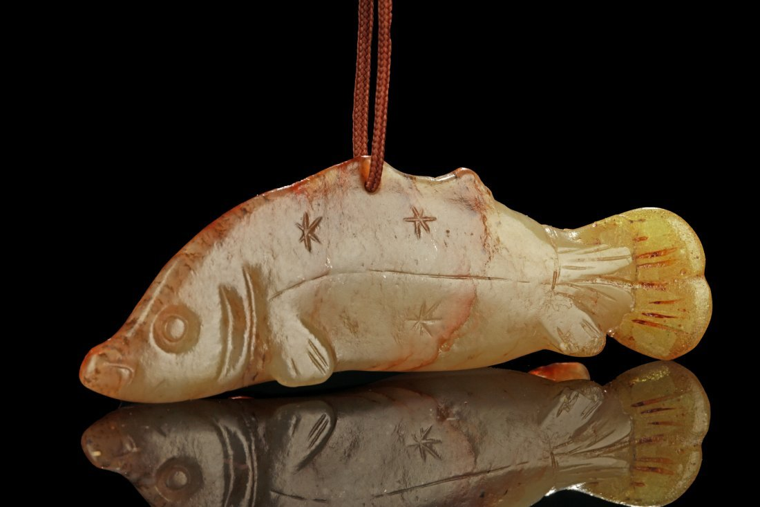 JADE CARVED 'FISH' ORNAMENT - 3