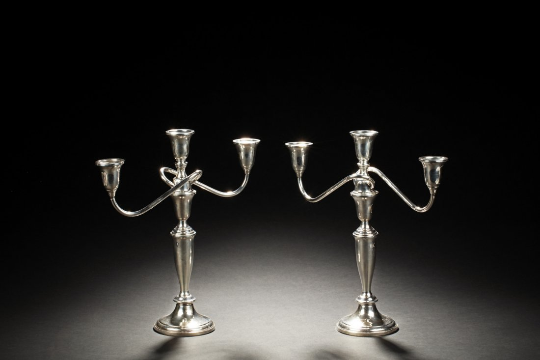 PAIR OF TOWLE STERLING SILVER 3-LIGHT CANDELABRA