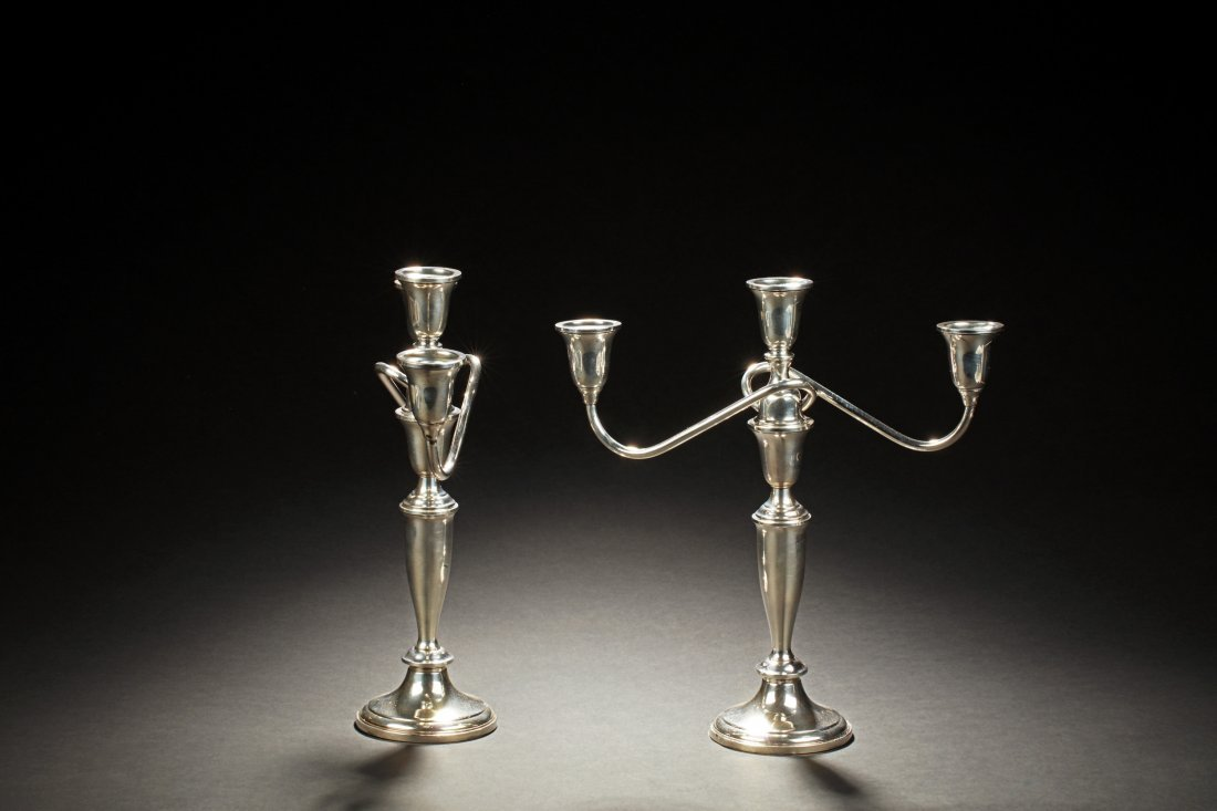 PAIR OF TOWLE STERLING SILVER 3-LIGHT CANDELABRA - 2