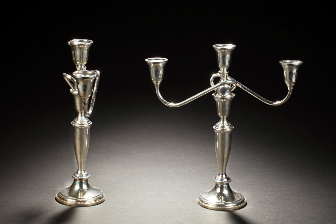 PAIR OF TOWLE STERLING SILVER 3-LIGHT CANDELABRA - 3