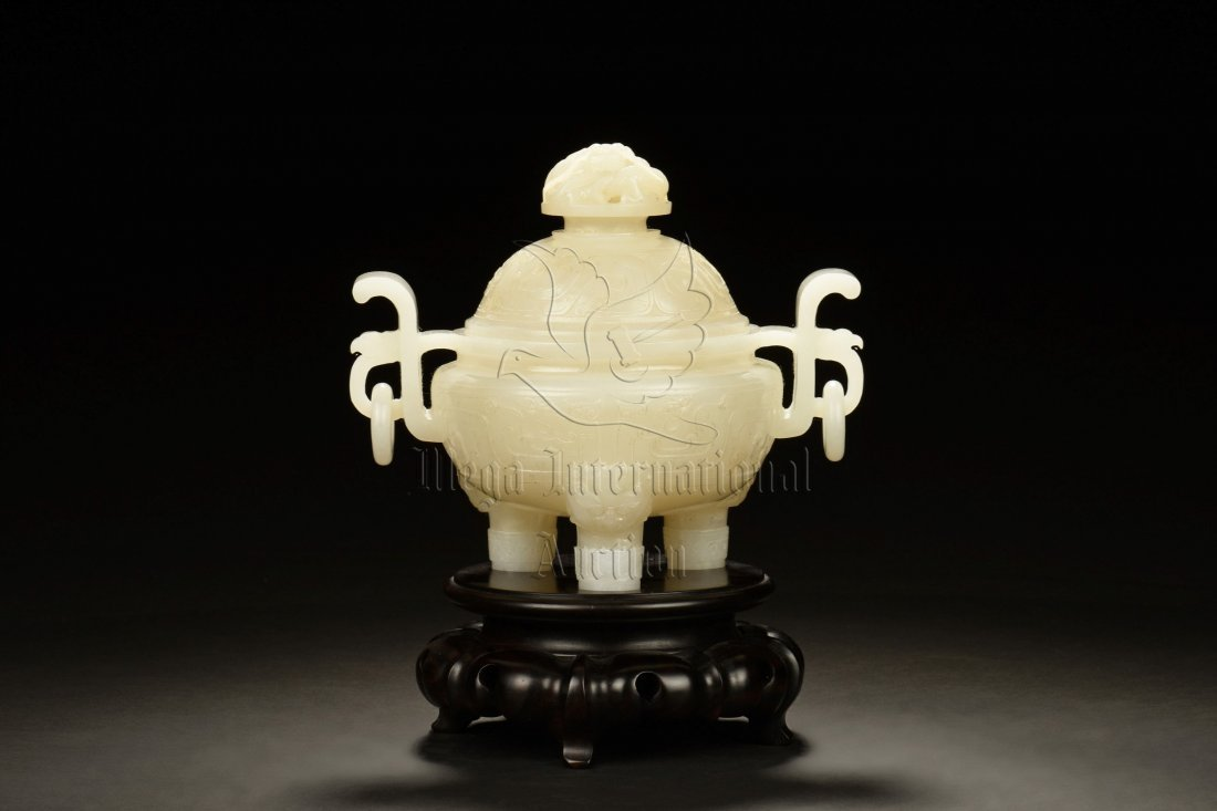 JADE CARVED 'DRAGON' TRIPOD CENSER WITH STAND