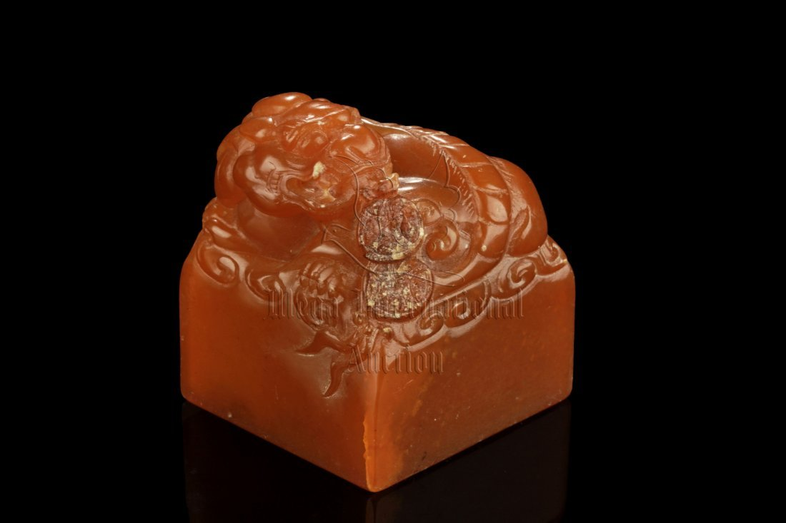 SHOUSHAN STONE CARVED 'LION' STAMP SEAL