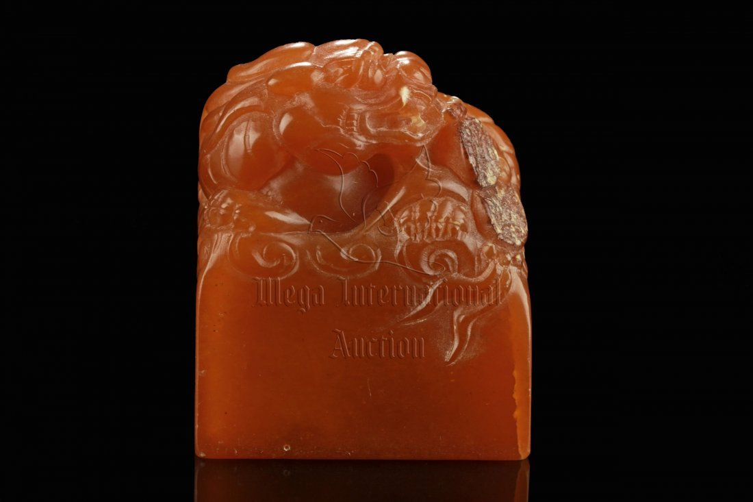 SHOUSHAN STONE CARVED 'LION' STAMP SEAL - 3