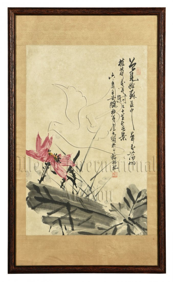 PAN TIANSHOU: FRAMED INK AND COLOR ON PAPER PAINTING