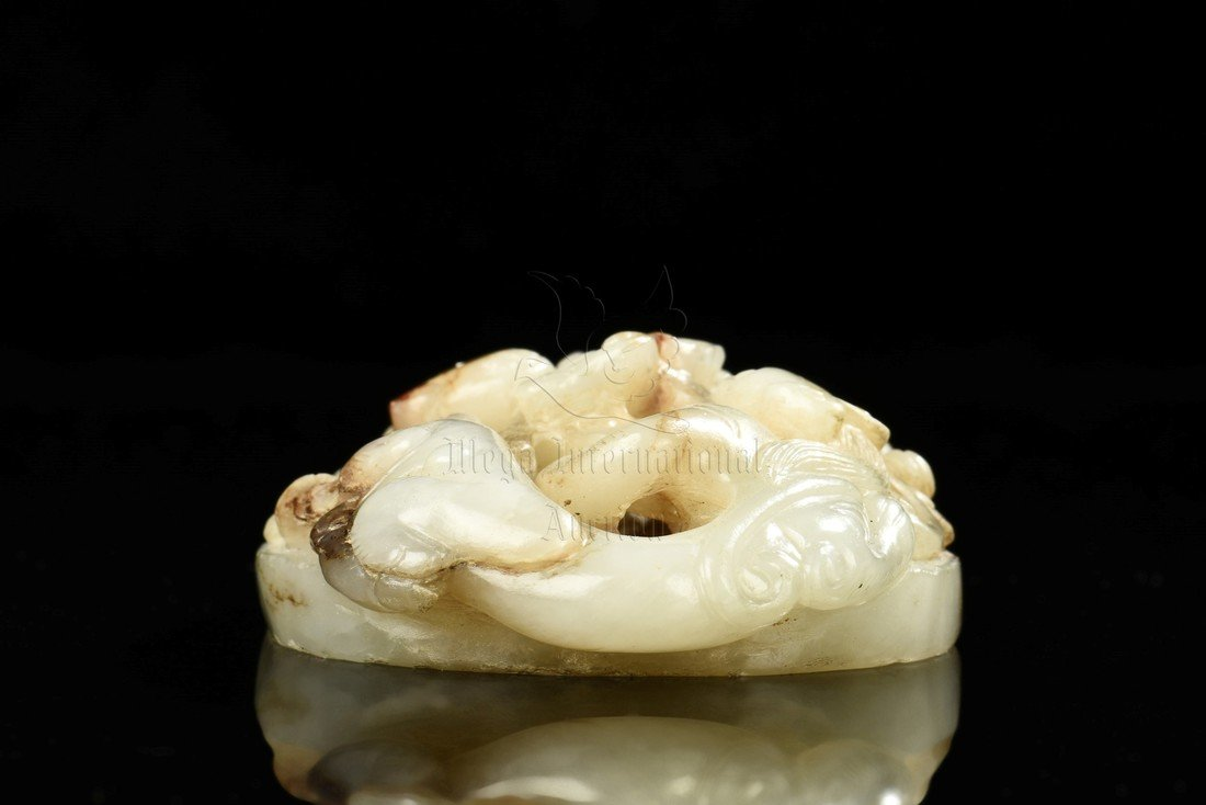 CARVED WHITE JADE 'CHILONG' ORNAMENT - 6