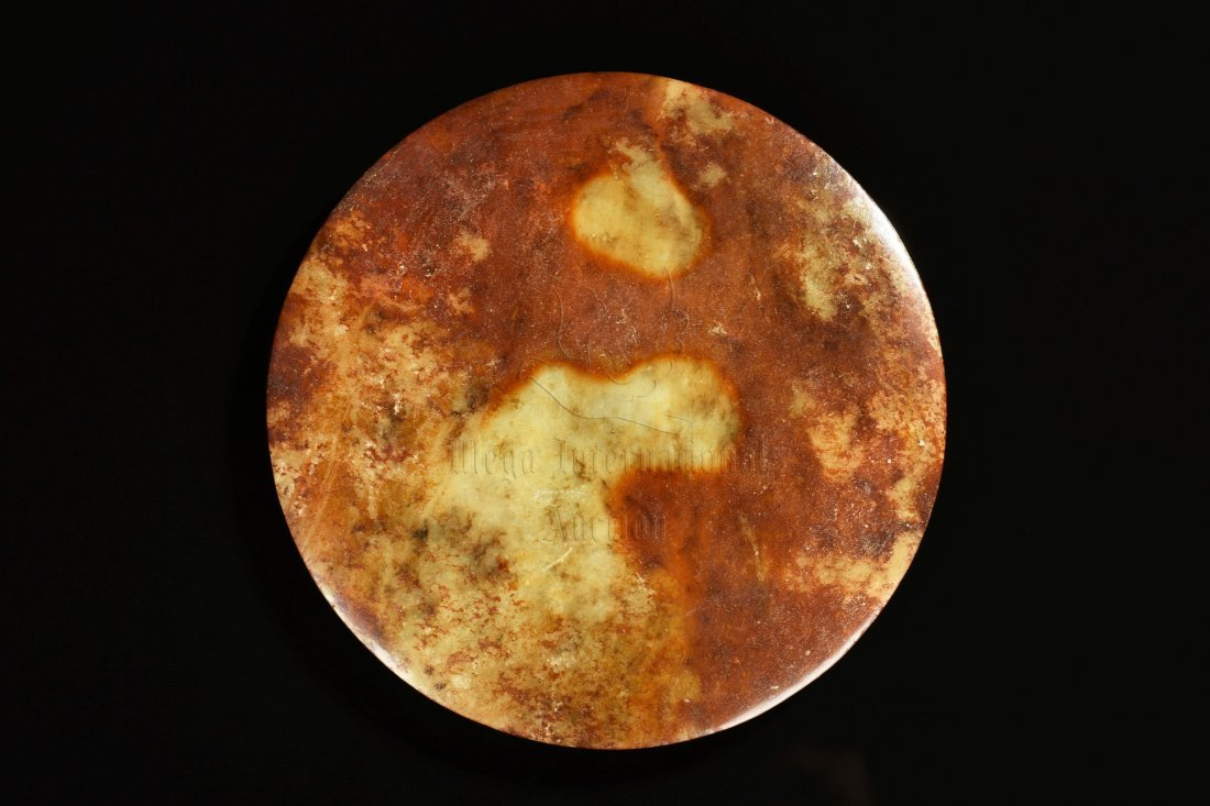 YELLOW JADE CARVED MIRROR - 3