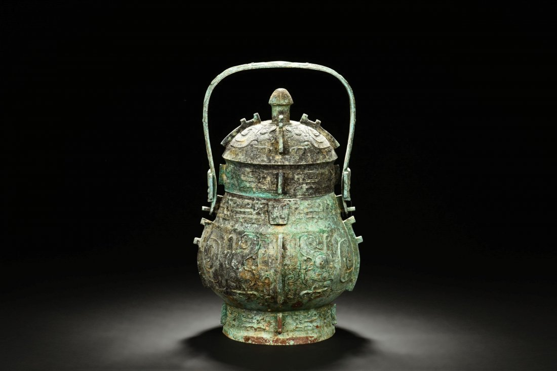 ARCHAIC BRONZE VESSEL WITH LID AND HANDLE