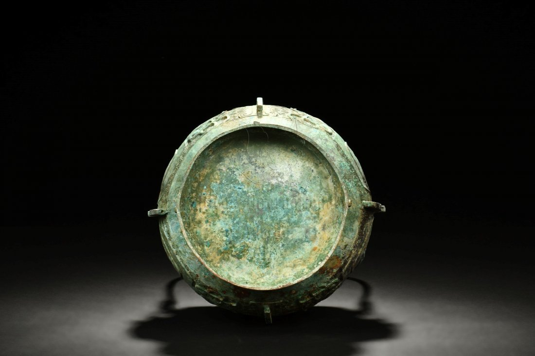 ARCHAIC BRONZE VESSEL WITH LID AND HANDLE - 7