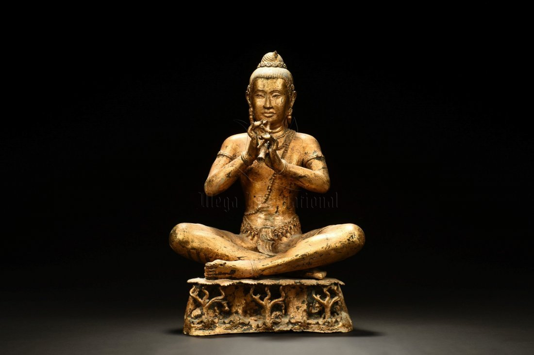 GILT BRONZE SEATED BUDDHA FIGURE