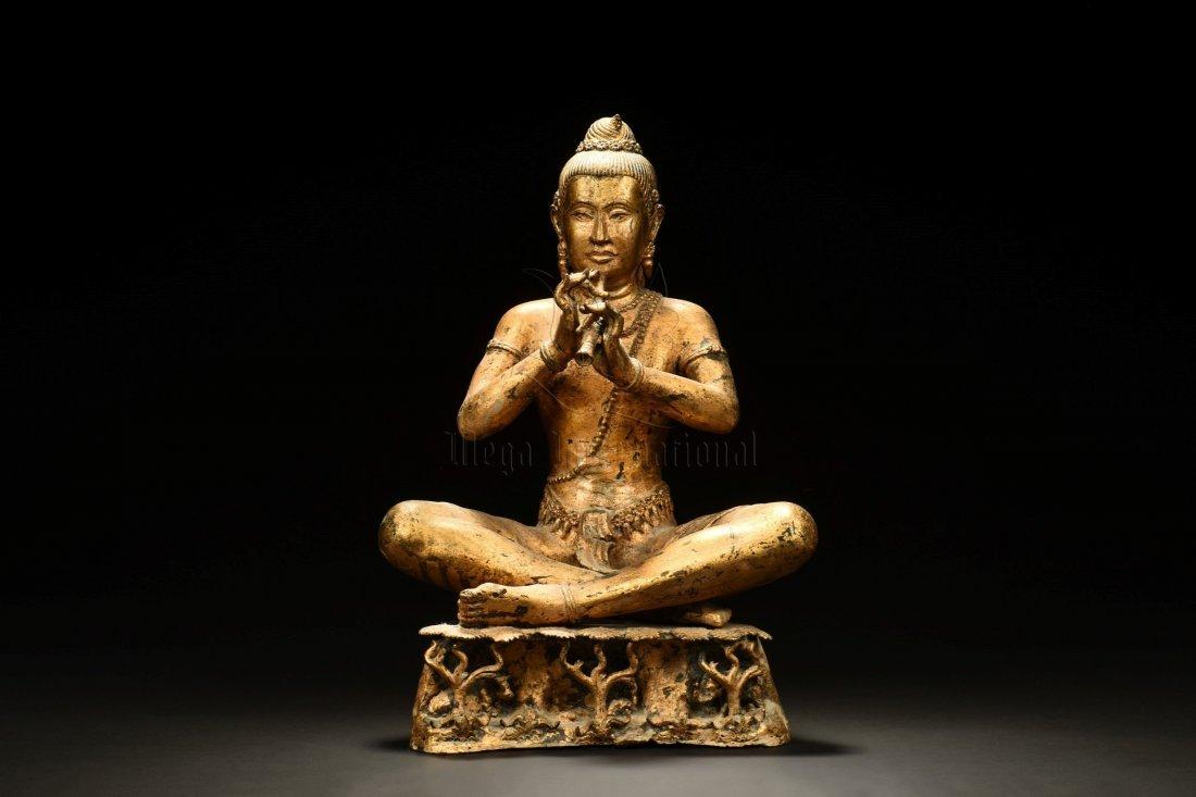 GILT BRONZE SEATED BUDDHA FIGURE