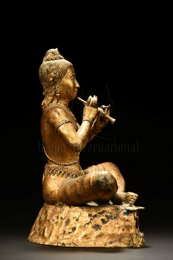 GILT BRONZE SEATED BUDDHA FIGURE - 4