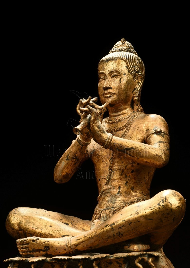 GILT BRONZE SEATED BUDDHA FIGURE - 5