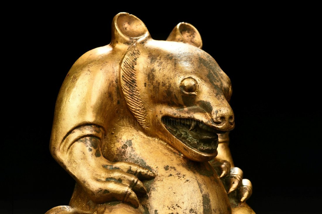 GILT BRONZE BEAR FIGURE - 6