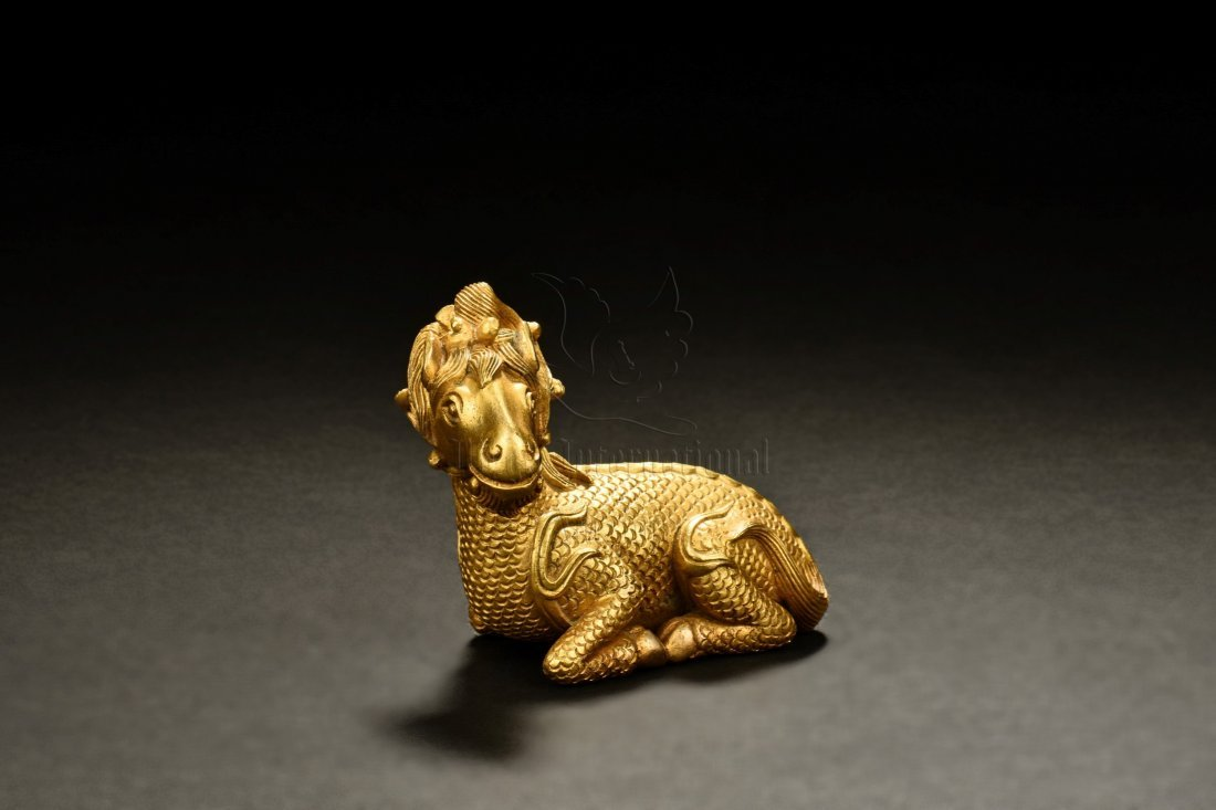 GILT BRONZE MYTHICAL RAM PAPER WEIGHT - 2