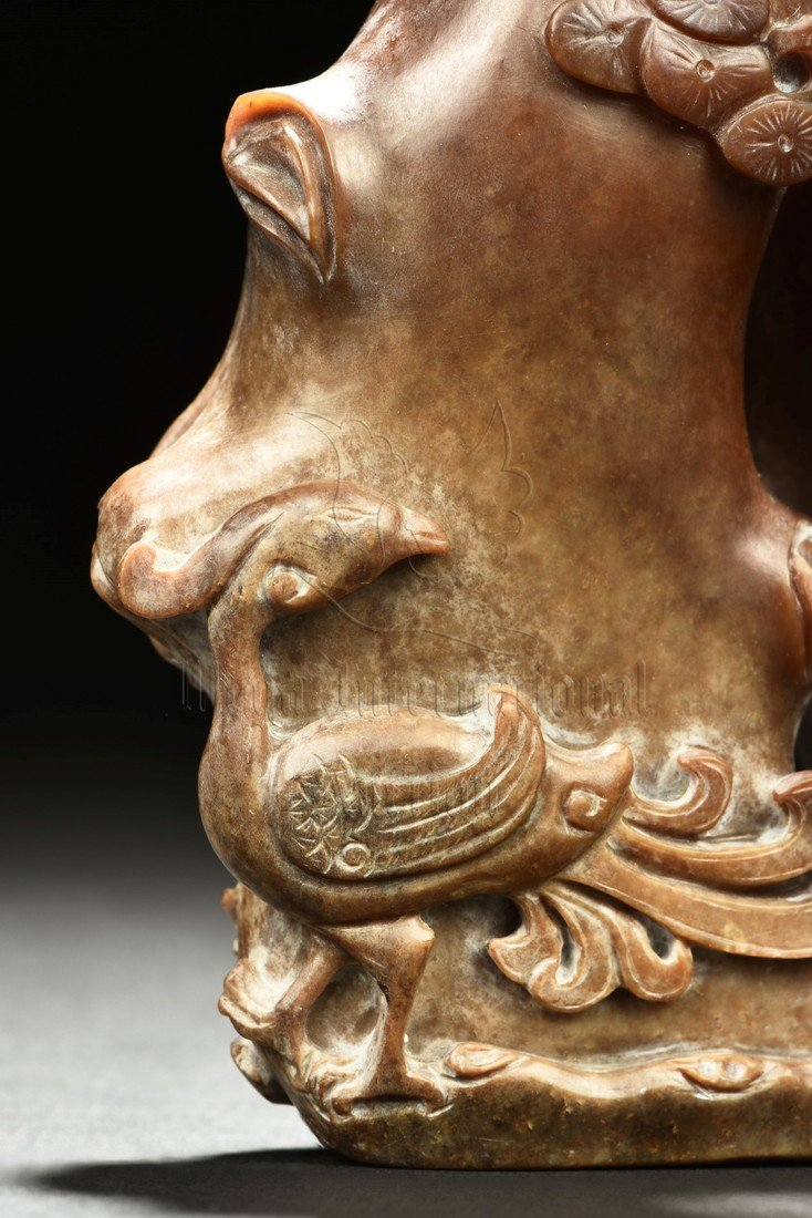 JADE CARVED 'BAMBOO AND VASE' FIGURAL GROUP - 5