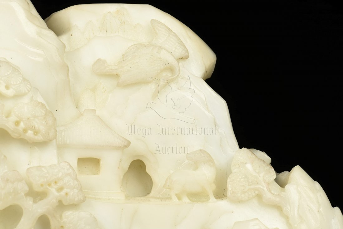 WHITE JADE CARVED MOUNTAIN BOULDER WITH INSCRIBED - 10