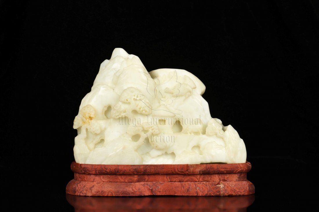 WHITE JADE CARVED MOUNTAIN BOULDER WITH INSCRIBED