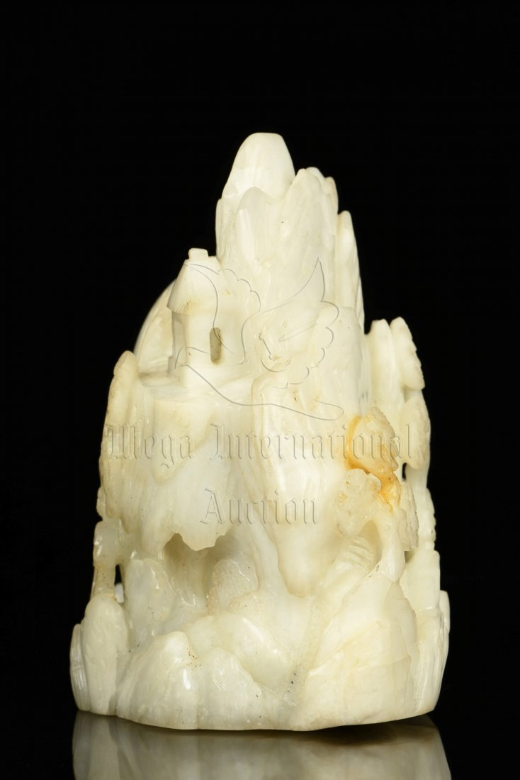 WHITE JADE CARVED MOUNTAIN BOULDER WITH INSCRIBED - 2