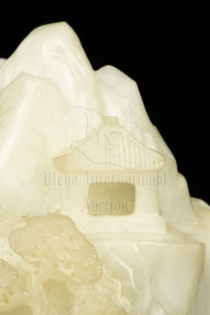 WHITE JADE CARVED MOUNTAIN BOULDER WITH INSCRIBED - 8