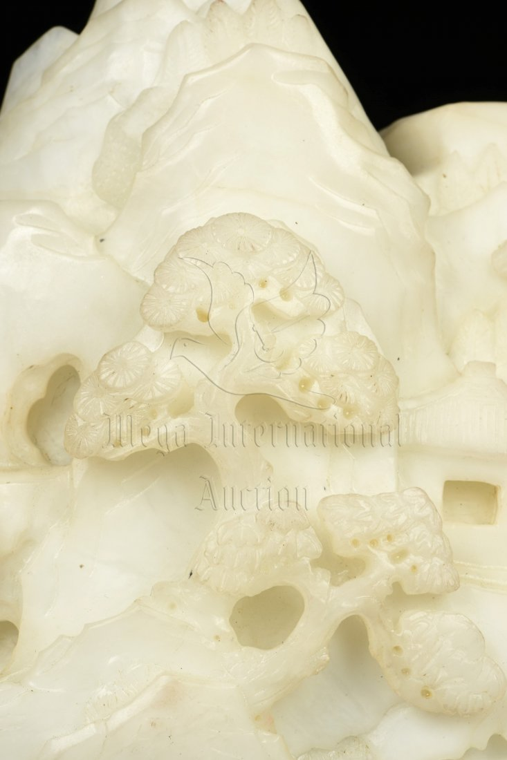 WHITE JADE CARVED MOUNTAIN BOULDER WITH INSCRIBED - 9