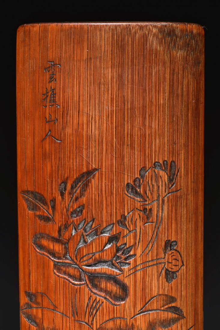 XUEQIAO SHANREN: BAMBOO CARVED 'FLOWERS' WRIST REST - 5