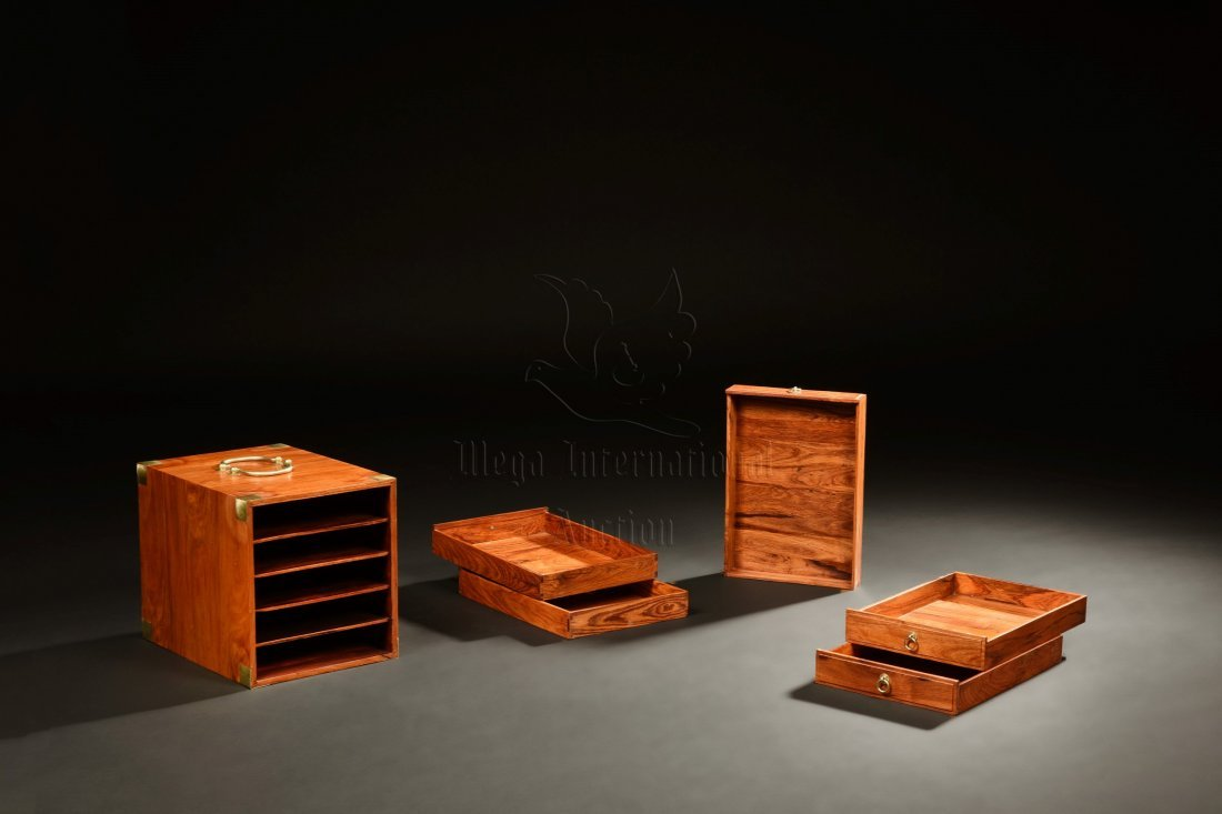 PAIR OF HUANGHUALI WOOD TIERED SMALL BOXES - 3