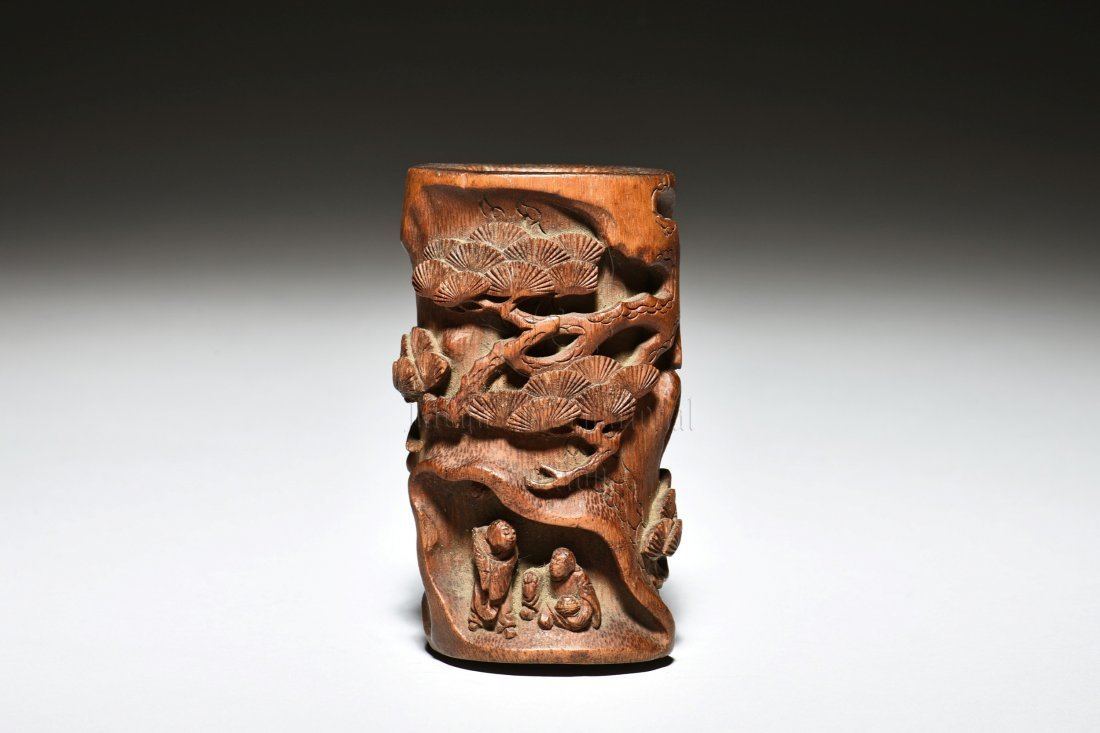 BAMBOO CARVED 'PINE TREES' BRUSH POT