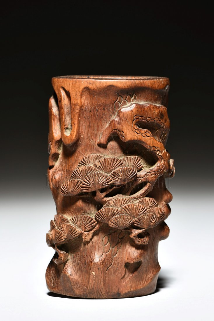 BAMBOO CARVED 'PINE TREES' BRUSH POT - 2