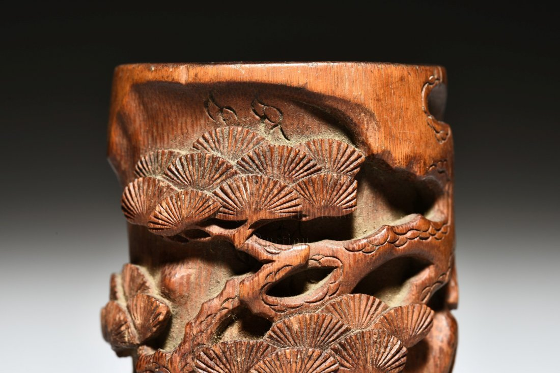 BAMBOO CARVED 'PINE TREES' BRUSH POT - 6