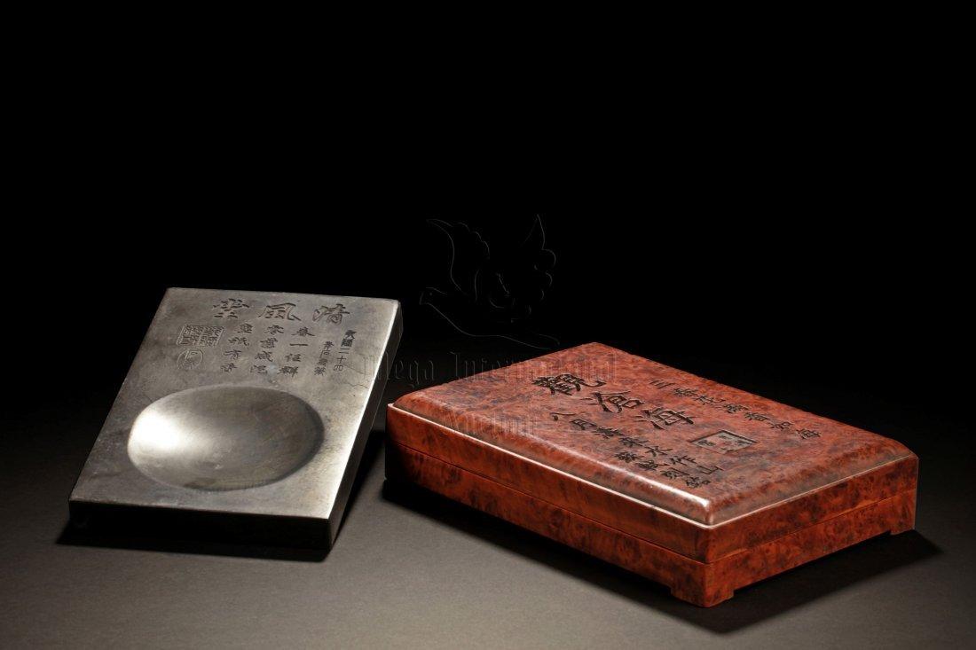 INSCRIBED INKSTONE AND BOX