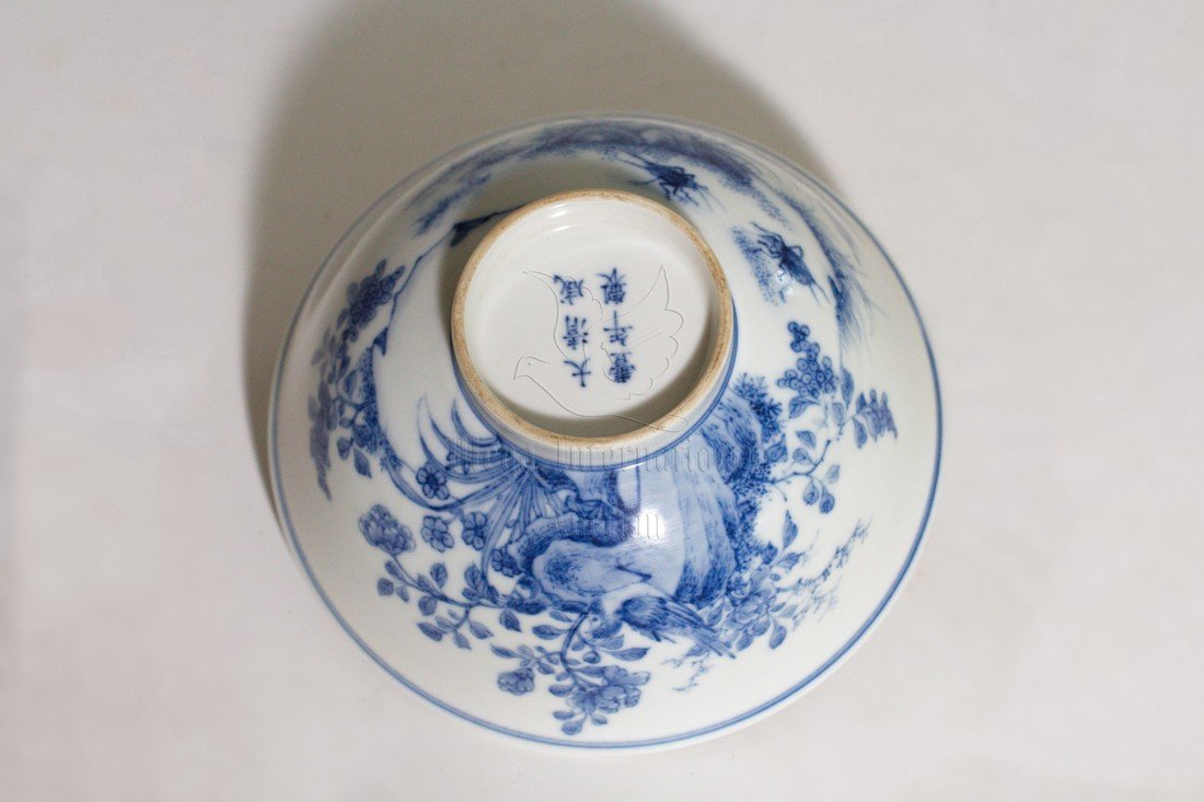 BLUE AND WHITE 'FLOWERS' BOWL - 4