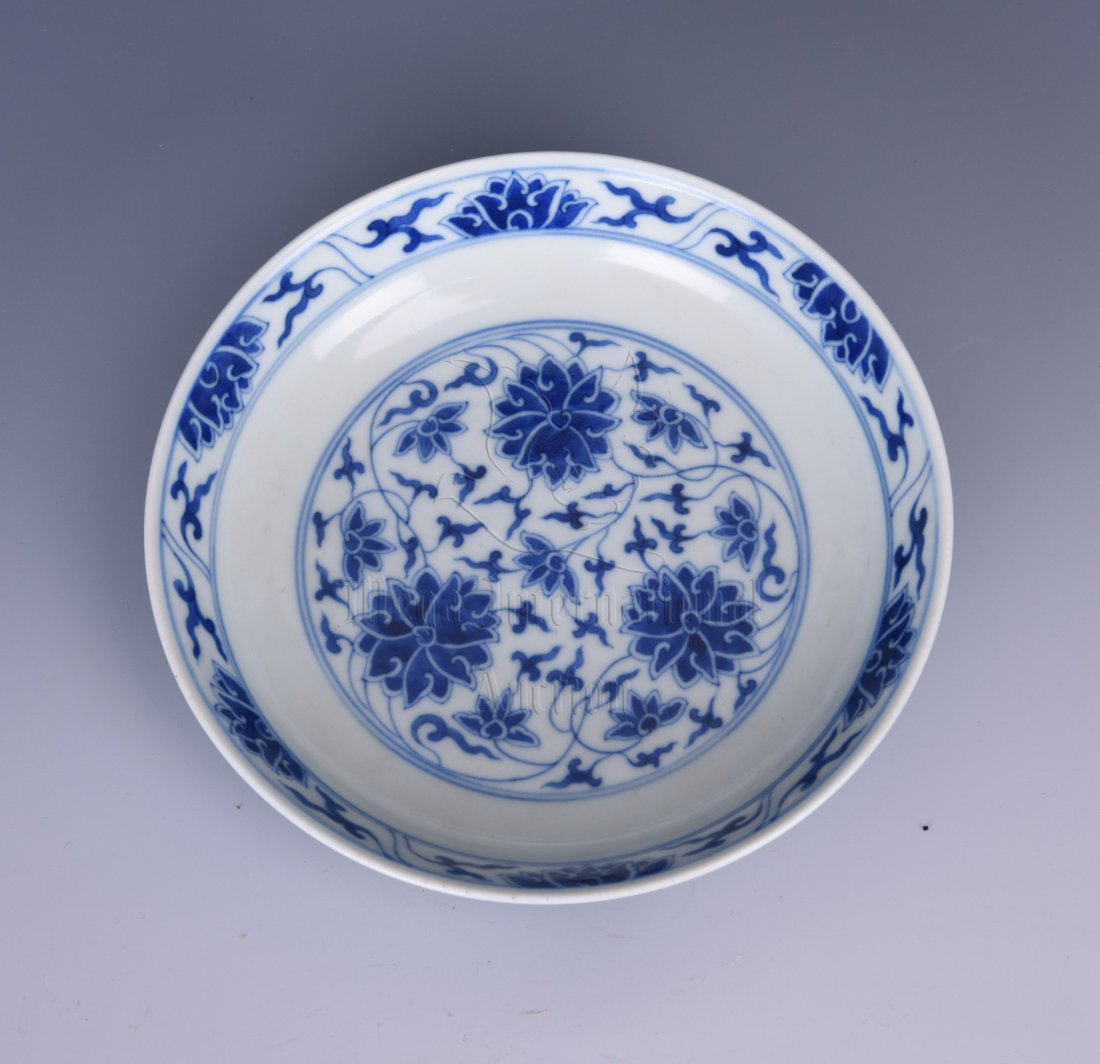 BLUE AND WHITE 'LOTUS' DISH - 2