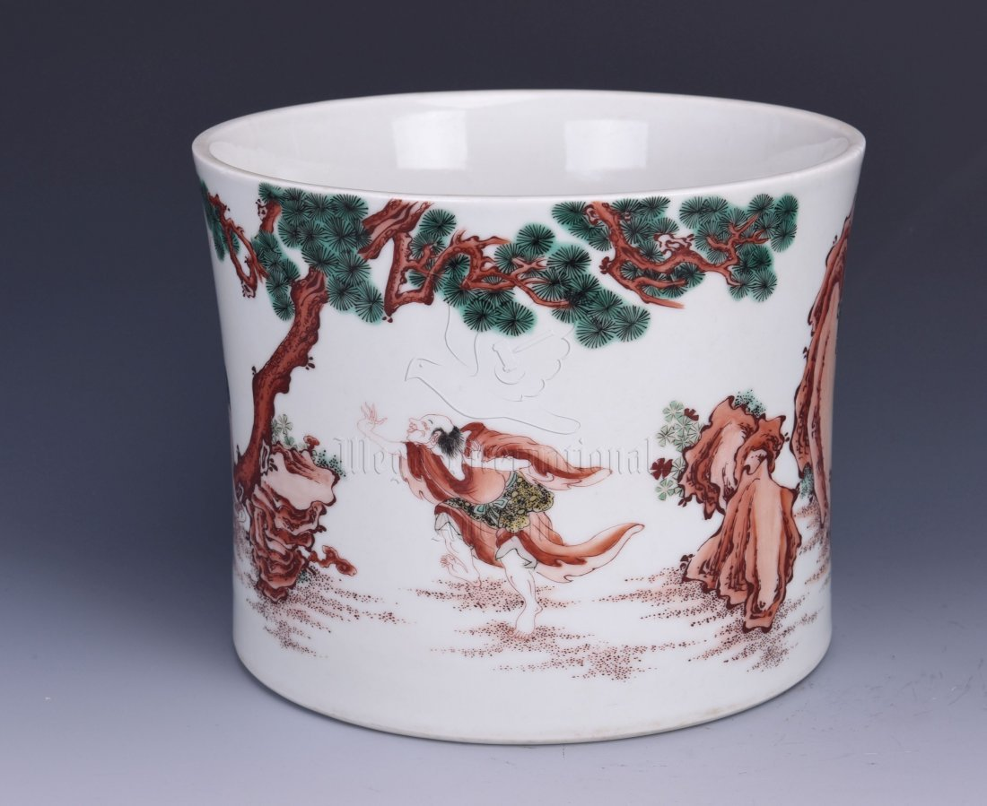 UNDERGLAZE RED 'PEOPLE' BRUSH POT