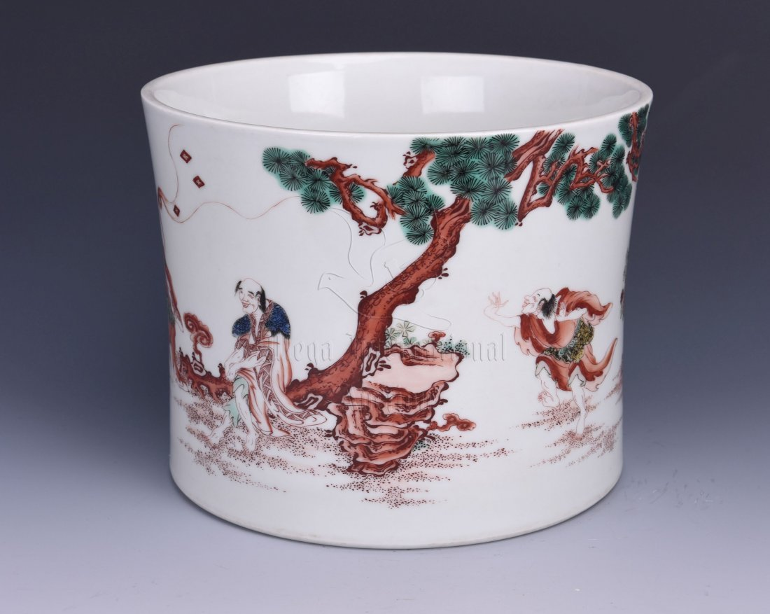 UNDERGLAZE RED 'PEOPLE' BRUSH POT - 2