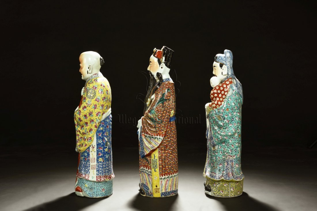 SET OF THREE PORCELAIN FU LU SHOU FIGURES - 4