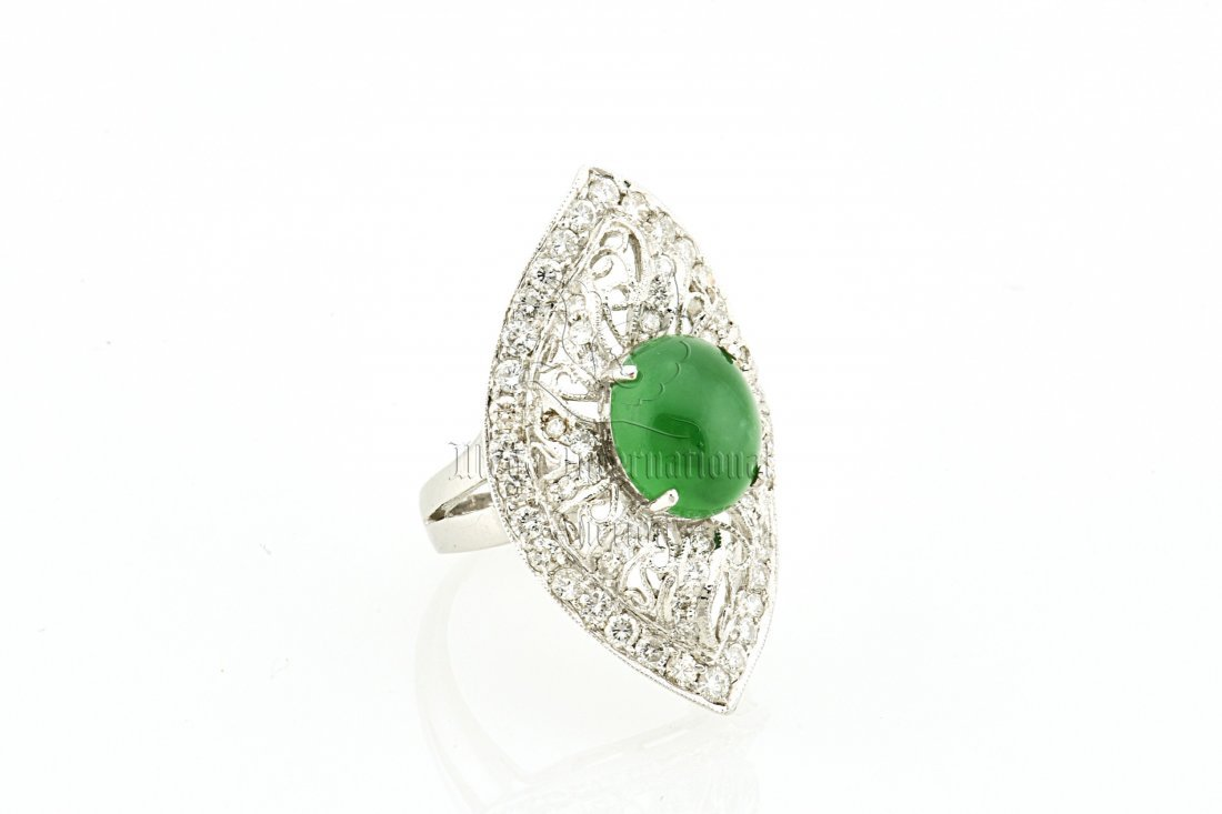 EMERALD GREEN JADEITE AND DIAMOND RING WITH GIA