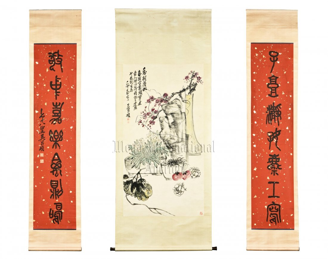 WU CHANGSHUO: INK AND COLOR ON PAPER PAINTING WITH PAIR