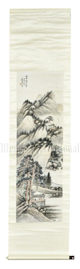 WANG KUN: INK AND COLOR ON PAPER PAINTING 'LANDSCAPE'