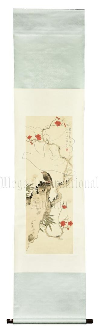 TIAN SHIGUANG: INK AND COLOR ON PAPER PAINTING 'FLOWERS
