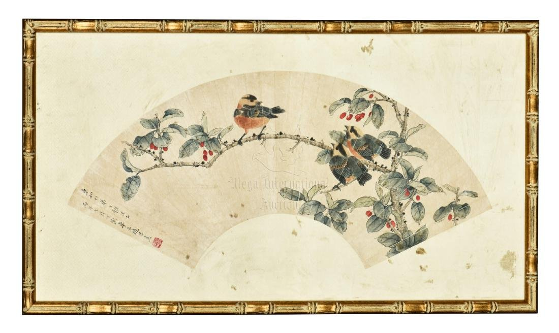 ZHAO ENXI: FRAMED INK AND COLOR ON FAN LEAF PAINTING