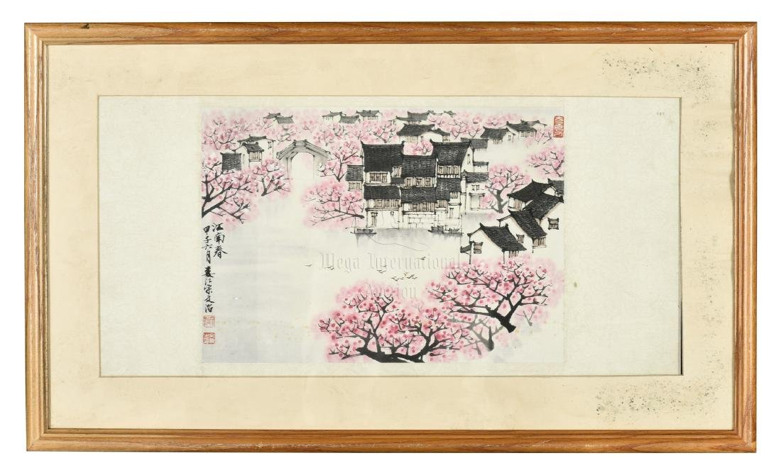 SONG WENZHI: FRAMED INK AND COLOR ON PAPER PAINTING