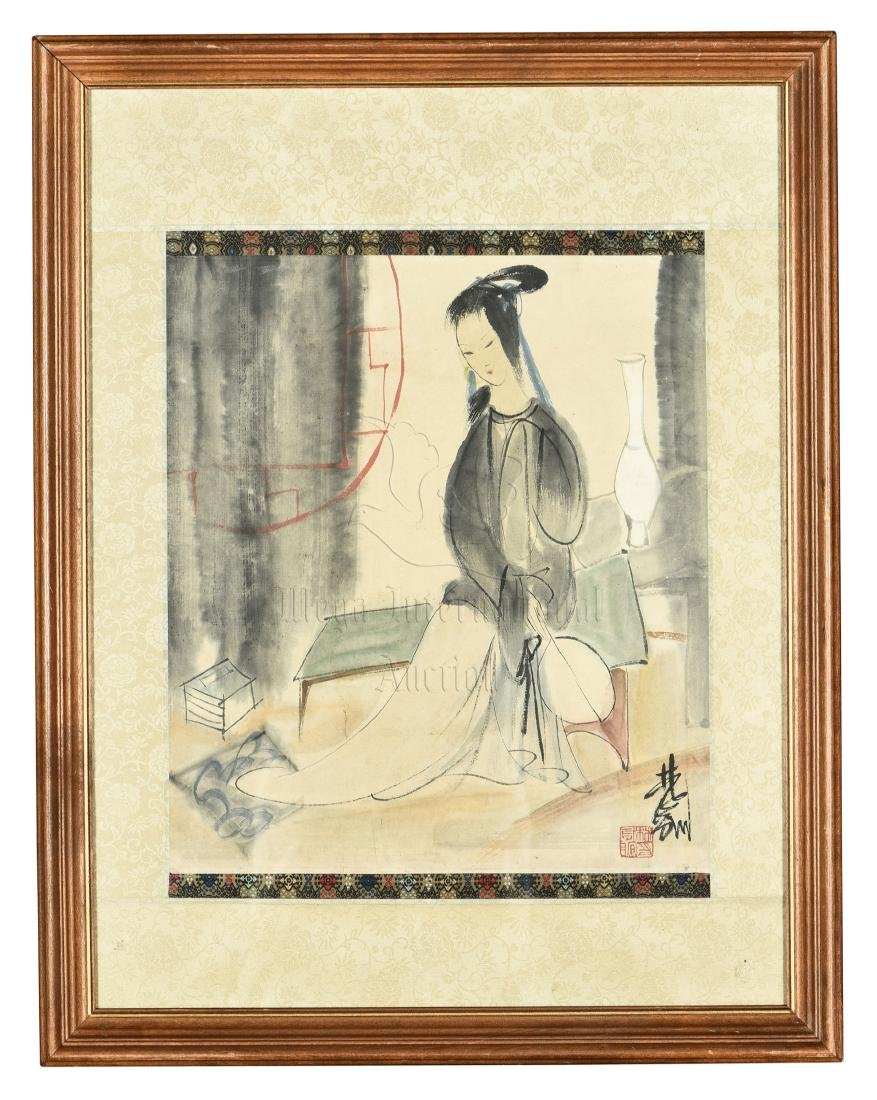 LIN FENGMIAN: FRAMED INK AND COLOR ON PAPER PAINTING