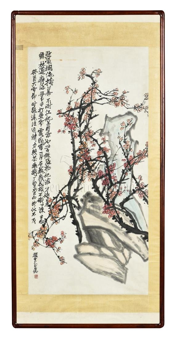 ZHAO YUNHE: FRAMED INK AND COLOR ON PAPER PAINTING