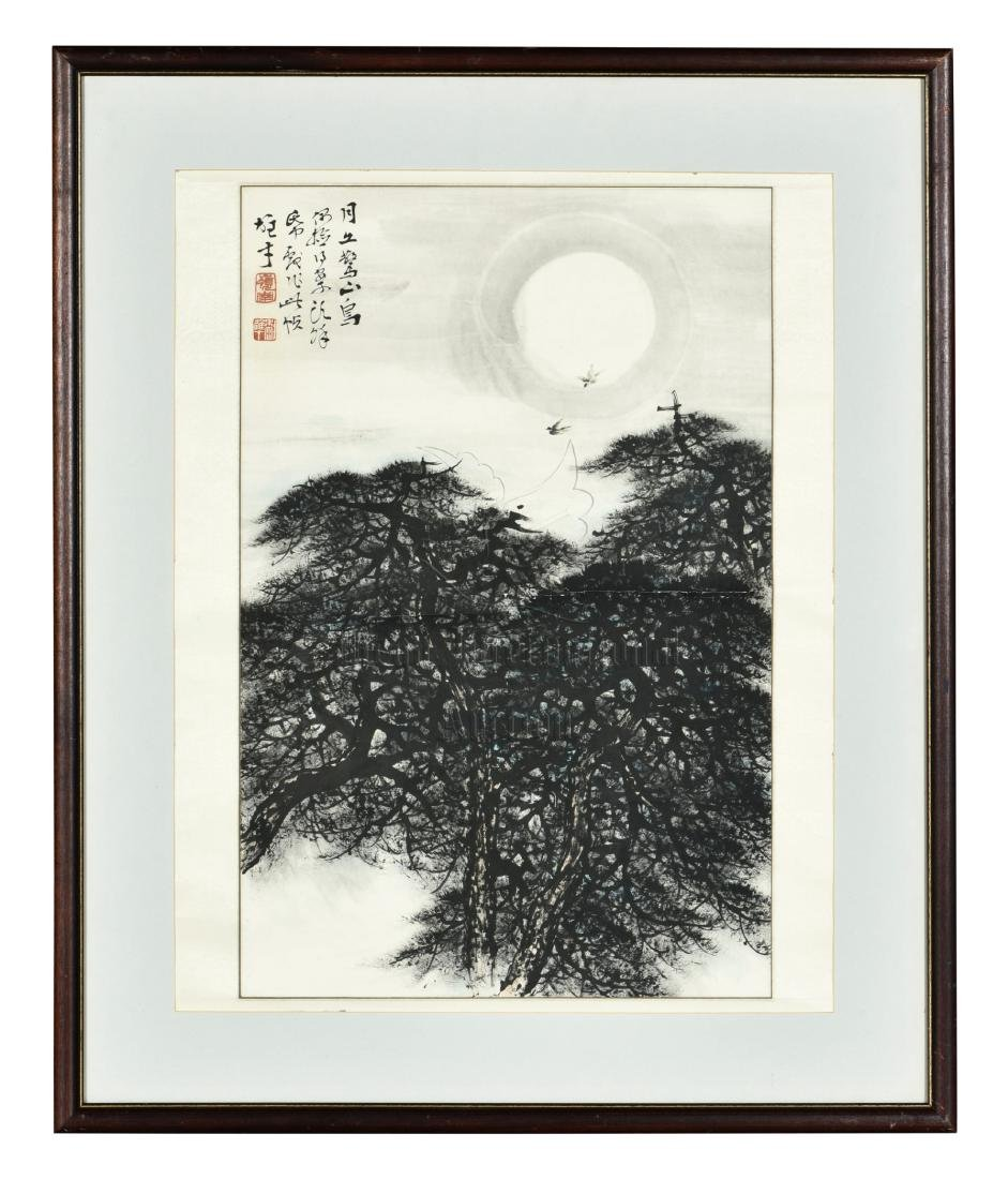 LI XIONGCAI: FRAMED INK ON PAPER PAINTING 'PINE TREES'